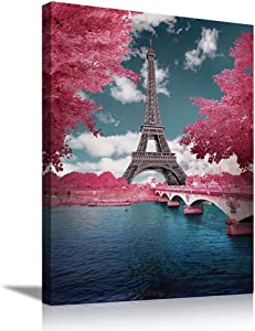 Eiffel Tower Wall Decor Bedroom Decor for Women Room Decor for Teen Girls Bathroom Decor Wall Art Pink Paris Decor Teal Turquoise Picture Teenage Girl Room Decor Tree Painting Print Modern Canvas Art