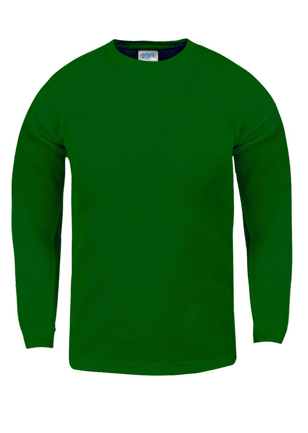 Shaka Wear KTC06_XS Thermal Long Sleeve Crewneck Waffle Shirt Kelly Green XS by Shaka Wear
