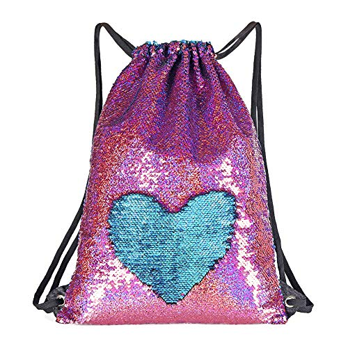 WOYYHO Mermaid Reversible Sequin Bags Purse for Girls, Flip Sparkle Sequin Duffel Bag Drawstring Backpack Suitable for Travel Gym Dance Overnight and Daily Use