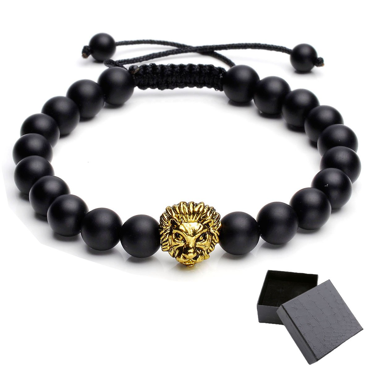 Top Plaza Jewelry Lava Rock Stone Matte Black Agate Mens Gemstone Beads Elastic Bracelet W/Gold Lion Head ATPUS62756