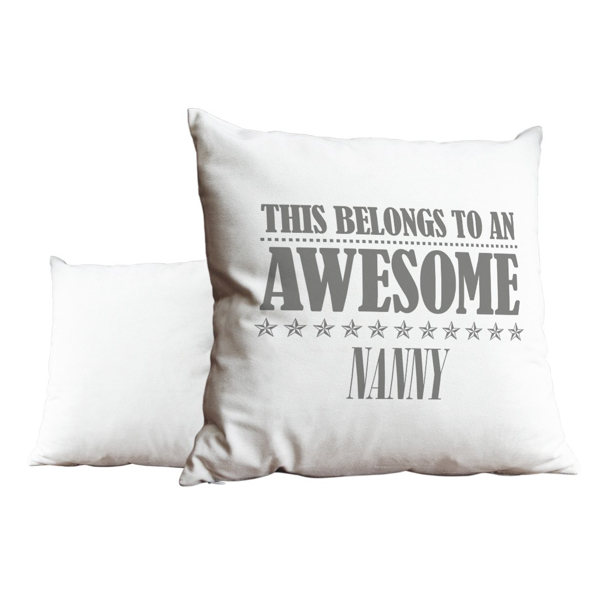 Duke Gifts Grey This belongs to an Awesome Nanny White Cushion Scatter Pillow 123