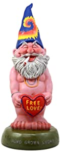 """Ebros Free Spirited Smoking Naked Hippie Gnome Statue 13.5""""H Carefree Garden Gnome With Free Love Heart Sign Figurine"""