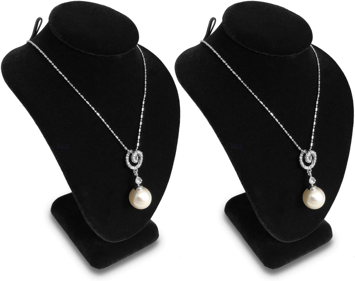 """MOOCA 2 Pcs Set Small Necklace Chain Jewelry Bust Display Holder Stand, Velvet Necklaces Display Necklace Mannequin, Necklace Bust, Jewelry Bust Stand 6 1/4""""H, Black Velvet"""