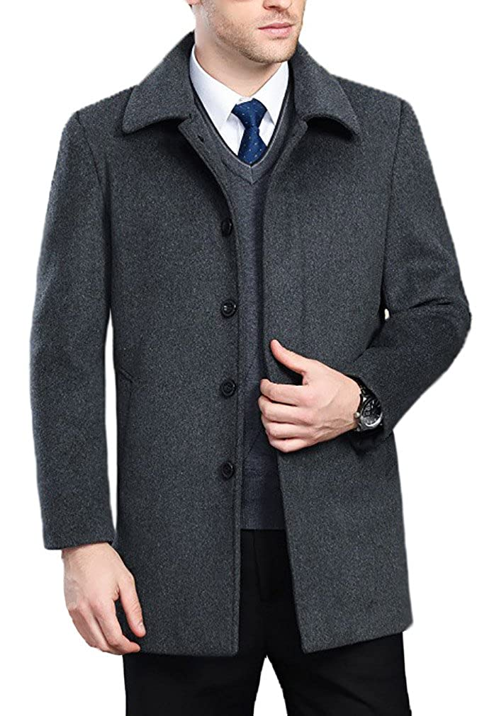 FASHINTY Men's Classical Bussiness Style Turndown Collar Wool Coat #237 Gray FMDYC00237-P