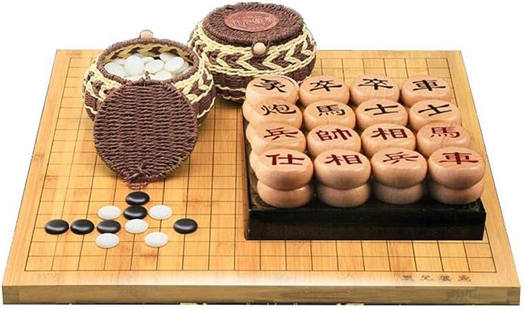 HQQ Go, Juego de ajedrez Chino Tablero de Doble Cara de Madera Maciza Gente Niños Principiantes Portátil: Amazon.es: Hogar