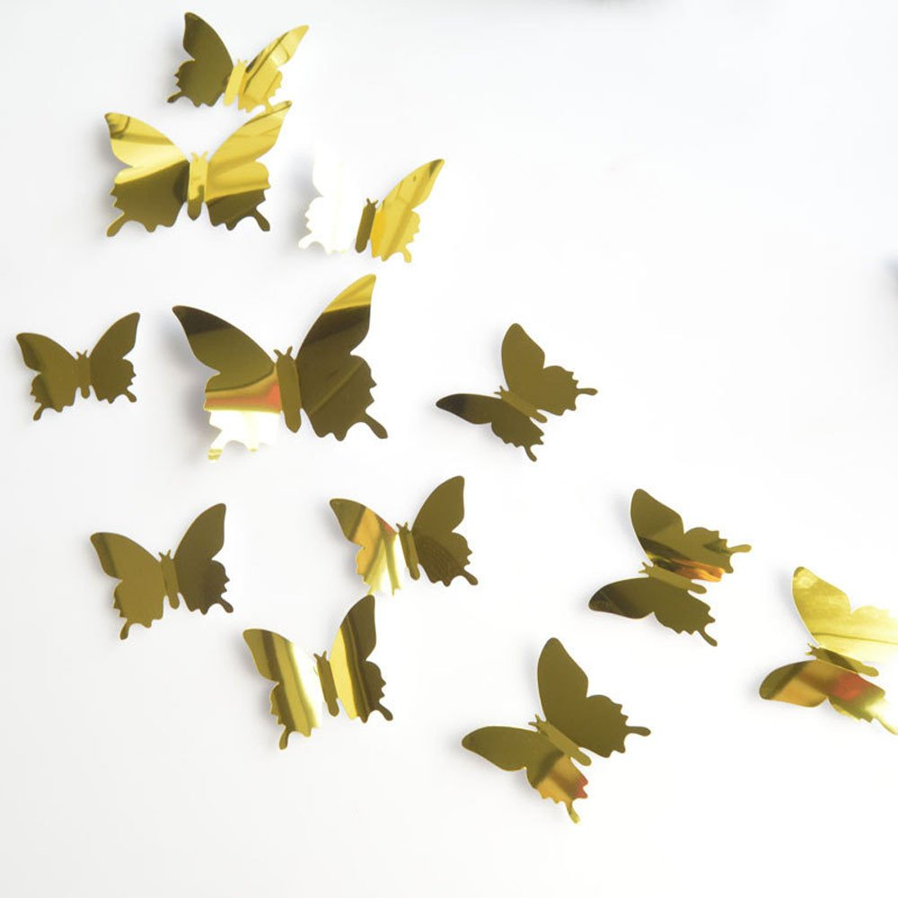 Ecosin 12PCS Butterfly Silver Mirror Decoration Home Room Art 3D DIY Wall Stickers for Bedroom (Gold)