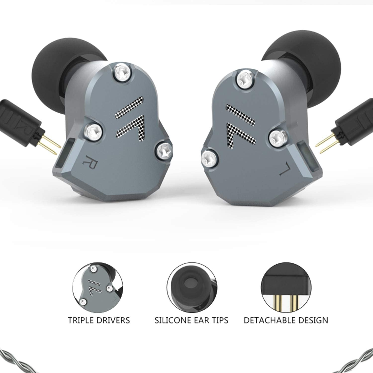 RevoNext QT2S in Ear Monitor Headphones, Triple Driver 2DD 1BA Balanced Armature with Dynamic Metal Shell Noise-Isolating Deep Bass Wired Earbuds with Detachable Cables Gray mic