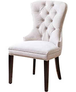 Abbyson Dubois Tufted Dining Chair, Ivory