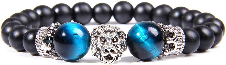 Pulsera con colgante de león de oro para hombre, pulida, 12 mm, piedra ojo de tigre, color azul