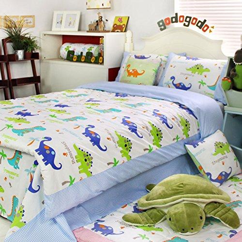 MakeTop Dinosaur Blue Plaid Jurassic World Theme Boys Beddin