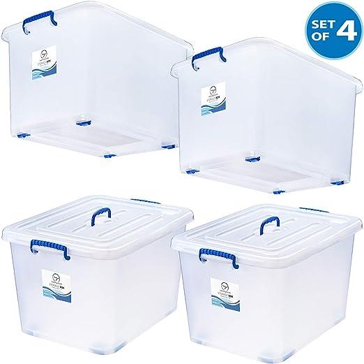 Large Plastic Storage Set Of 2 Wheeled Plastic Organizer Bin Container Box Tote