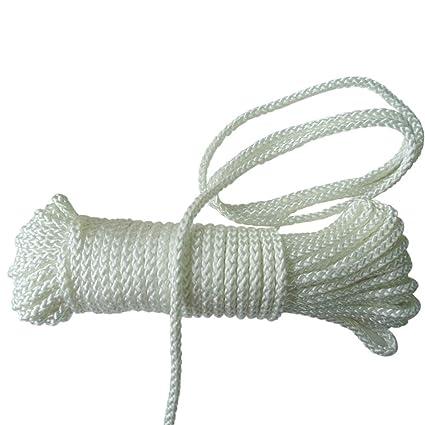 100feet 10mm(2/5Inch) White Nylon Rope,Paracord All Purpose Soft Utility  Rope Nylon Twine,Diamond Braided Nylon Ropes for