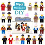 Minifigures Set - 20 Minifigures Toys Building Bricks Compatible Family Figures Mini People -Included Baseplate Bonus