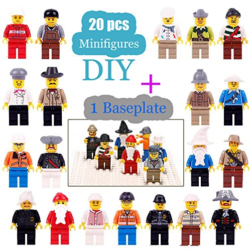 Minifigures Set - 20 Minifigures Toys Building Bricks Compatible Family Figures Mini People -Included Baseplate Bonus (Mini Figure Legs)