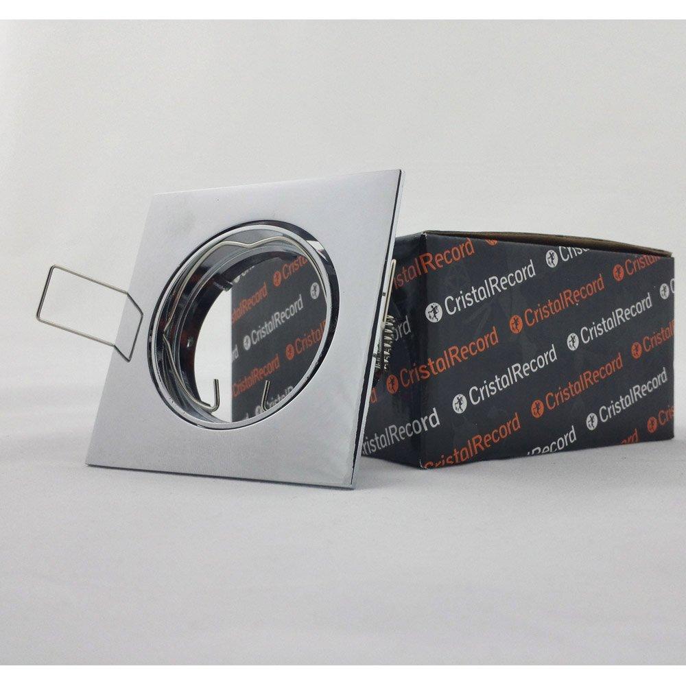 CristalRecord Eclo - Foco empotrable, cuadrado basculante 30, acabado cromo: Amazon.es: Iluminación