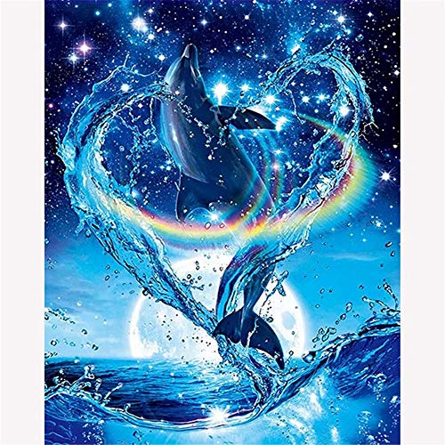 Square 5D Diamond Painting Kits Full Drill Diamond Marine Dolphin 20x26 inch / 50x65 cm