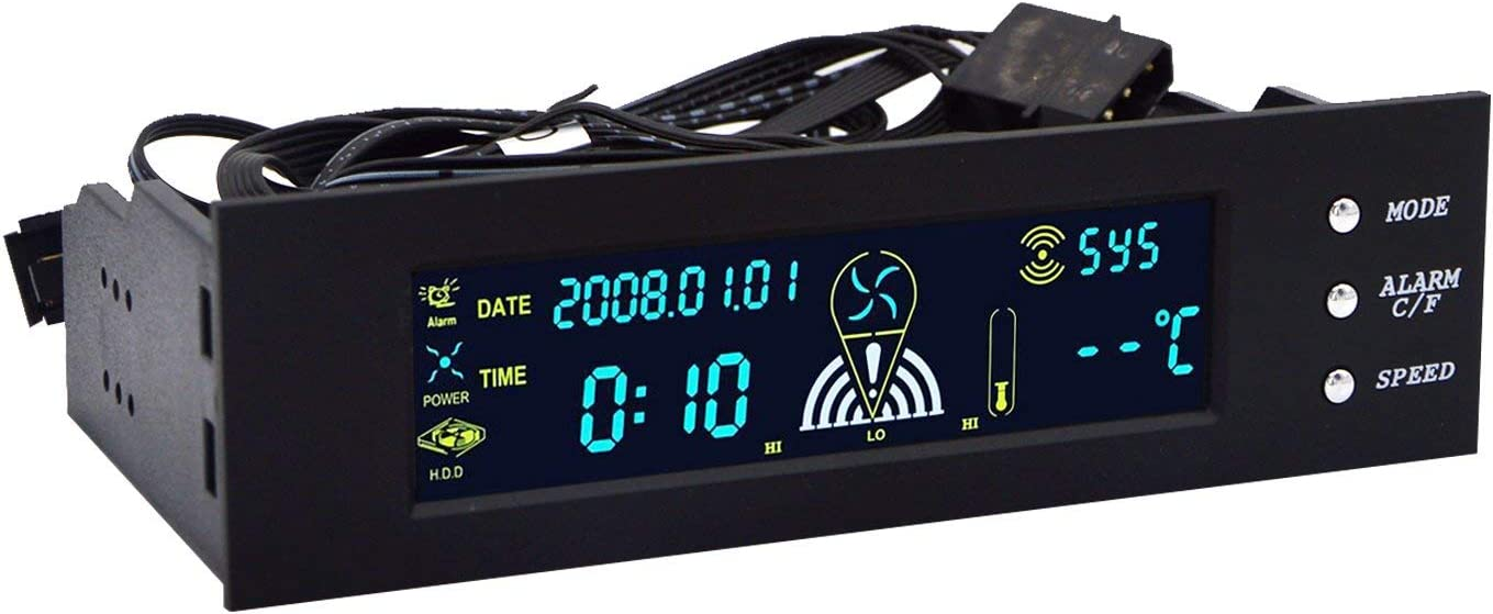 5.25 inch Fan Speed Controller PC Computer Fan Controller Temperature Controller Bay Front LCD Panel Date Time Temperature Display Drive Bay