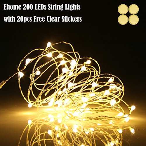 LED String Lights, Fairy Lights, Starry Lights 66ft 200 LEDs Copper Wire Lights, Ehome Waterproof Decorative Lights for Bedroom, Indoor Wedding Parties Christmas Lights with USB Interface(Warm white)