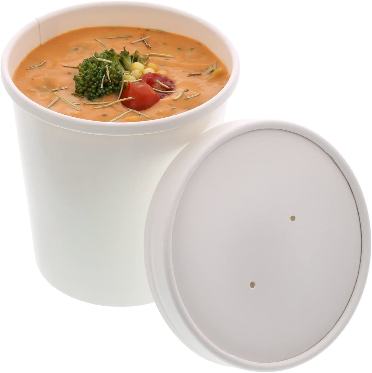 Royal 16 Ounce White Paper Food Container and Lid Combo, Package of 250