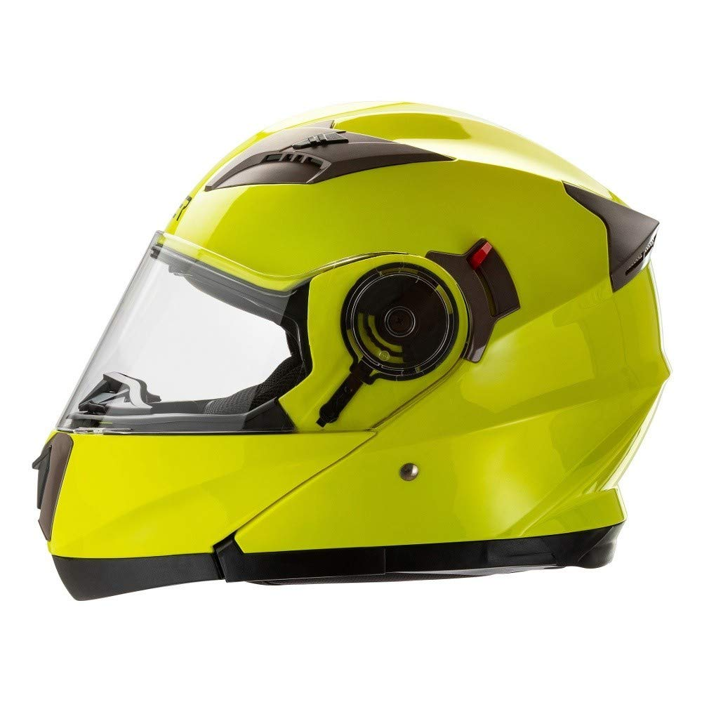 /casco Modular homologado para moto Amarillo Alta visibilidad con Doble visera CRUIZER/ Interior extra/íble y lavable Small Alta Visibilit/à