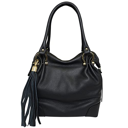 8d9c1742ca Amazon.com  Carbotti Designer Italian Leather Tassel Hobo Handbag Shoulder  Bag - Black  Shoes