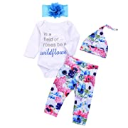 4Pcs Infant Baby Boy Girls Letters Long Sleeve Romper+Flower Pant+Hat+Headband Warm Clothes (3-6Months, Floral)
