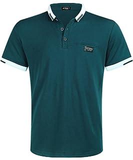 8ca960d39338a STTLZMC Men s Polo Shirts Short Sleeve Cotton Tee Button Basic ...