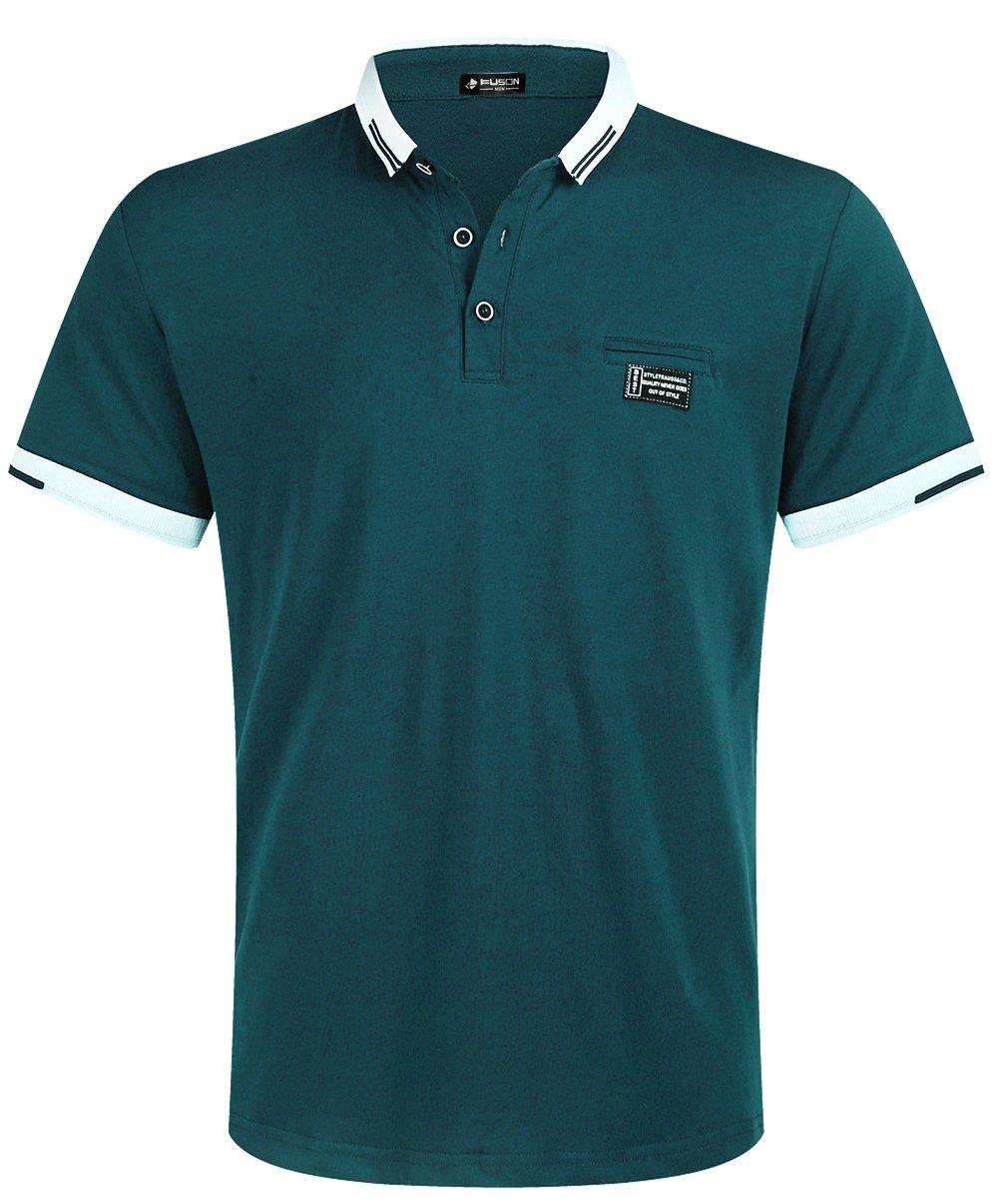 Musen Men Short Sleeve Polo Shirt Cotton Regular Fit T-Shirts Dark Green L