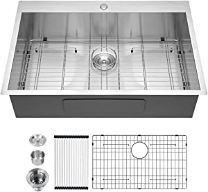30 Kitchen Sink Drop In - Logmey 30x22 Kitchen Sink Topmount Single Bowl Sink 18 Gauge Stainless Steel Drop Sink