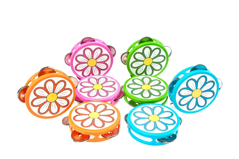 Daisy Imprint Plastic Tambourine Pack 12 music Treasures Co.