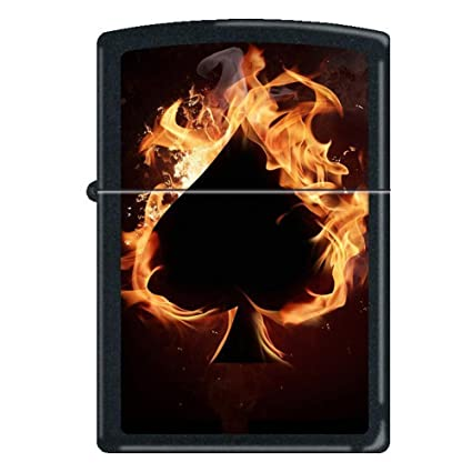 Zippo QuotAce Of Spades Flamesquot Black Matte Lighter