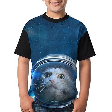 3472e2875 Amazon.com: Astronaut Cat Boys Girls Sports T Shirt 3D Printed Tee ...