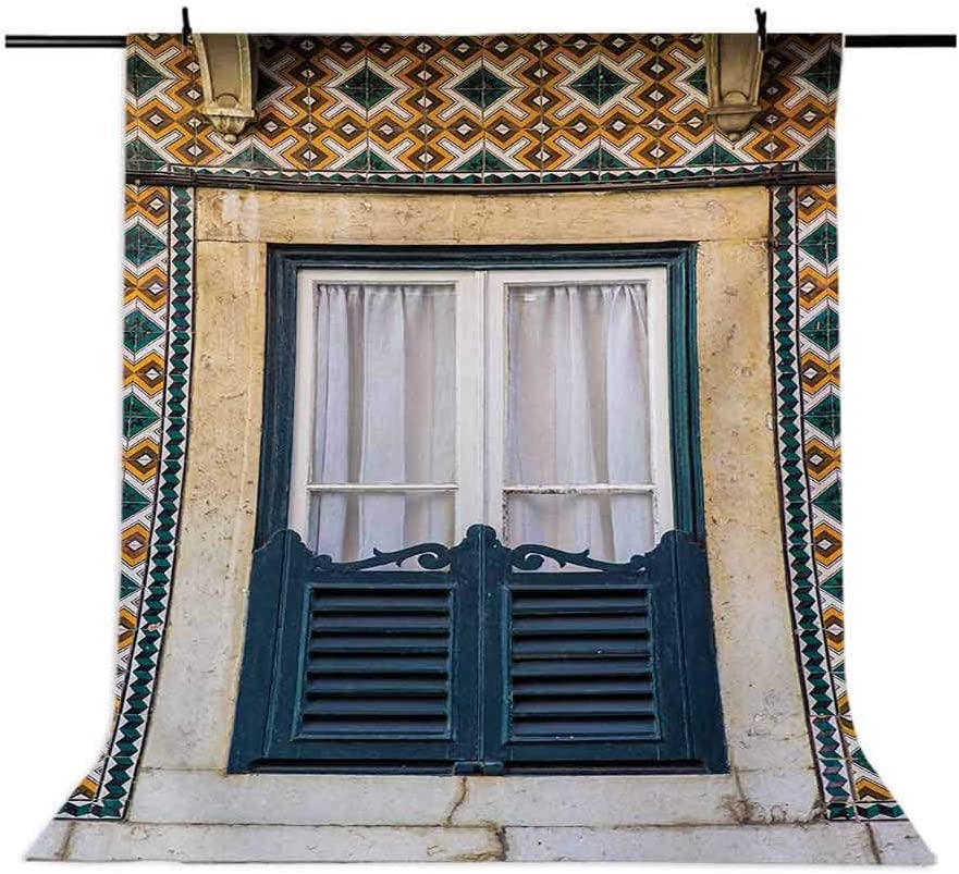 Shutters 8x10 FT Photography Backdrop Window of Old Architecture in Lisbon Portugal Touristic Town Cultural Nostalgic Background for Child Baby Shower Photo Vinyl Studio Prop Photobooth Photoshoot