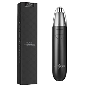 Nose Trimmer, Anjou Battery Operated Ear Hair Trimmer Stainless Steel Dual-Edge Blades Facial Hair Groomer ( Detachable Head & Washable Design ) - Black