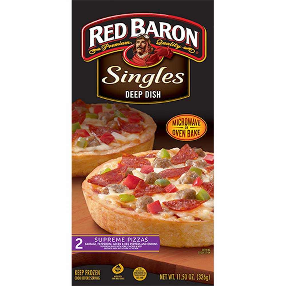 Red Baron Deep Dish Single Supreme Pizza, 12 Ounce - 12 per case.