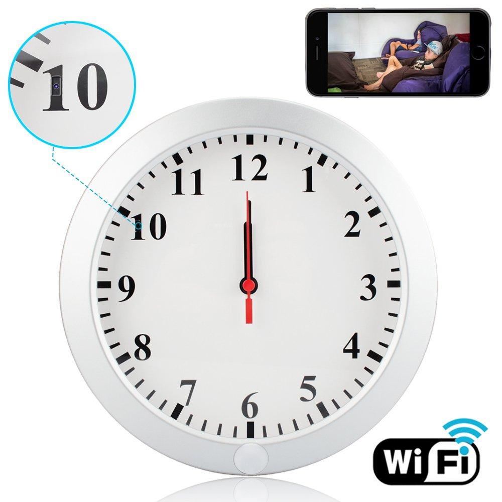 CAMXSW Upgrade WiFi Spy Camera HD 1080P Wall Clock 5000mAh Hidden Cameras with Motion Detection Alarm Clock Camera Pinhole CamNanny Cam Spy Mini Video Recorder Support Android IOS