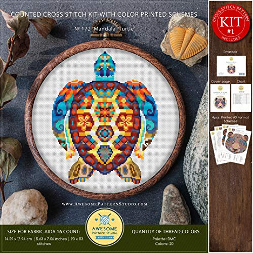 - Mandala Turtle #K172 Embroidery Cross Stitch Kit | Stitching | How to Cross Stitch | Funny Animals Cross Stitch Designs | Stitch Design | Cross Designs