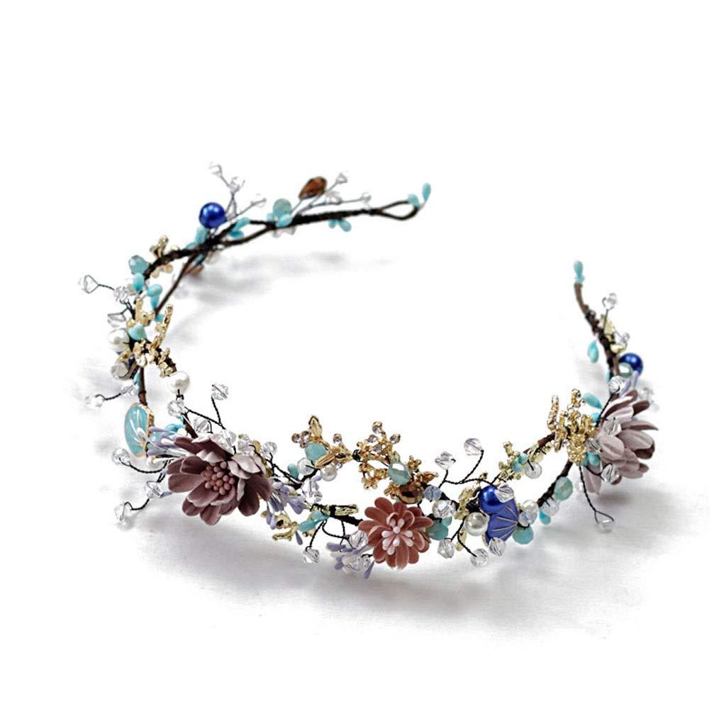 Wreath Flower Bride Tiara Hair Accessories Handmade Beaded Girl Headband Crown