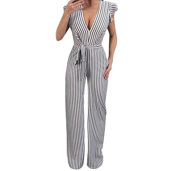 Monos Jumpsuit SUNNSEAN Playsuits Bodysuit Pantalones Mujer Fiesta Elegantes Sexy Tallas Grandes Chandal Cintura Alta 2019 Tiras Rayas Largo Trajes ...