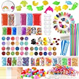 FEPITO 178 Pack Slime Supplies Kit Including Foam Balls, Fishbowl Beads, Net, Sponge Cube, Animal Model, Glitter Confetti, Imitation Gold Leaf, Sugar Paper, Container (Contain No Slime)