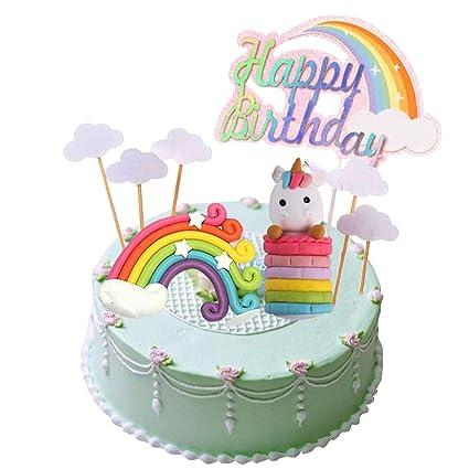 Juego de decoración para tarta de unicornio con diseño de ...