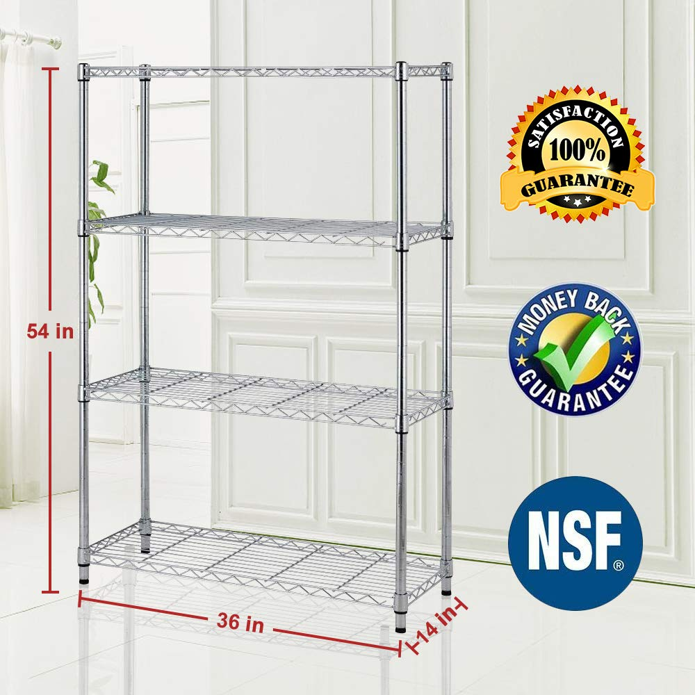 Bigacc 4 Tier Wire Shelving Unit Wire Metal Rack Wire Shelves 36' W x14 D x54 H NSF Steel Wire Shelf Adjustable Storage Wire Shelving Rack with Feet Levelers for Kitchen Office Bedroom (Chrome)