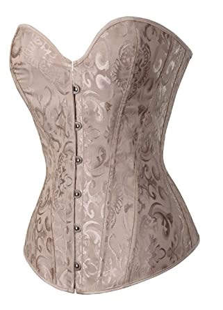 2982ad1c546 GoodmanShop Sue Shop Womens White Floral Overbust Lace up Corset Bustiers  (X-Small