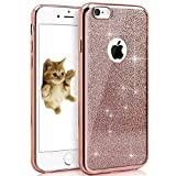 iPhone 6 6S Coque, Bling Glitter détachables Ultra-Thin Electroplating Technology Soft Gel Silicone TPU Retour Housse Coque pour iPhone 6s/iphone 6 4.7in [or rose]