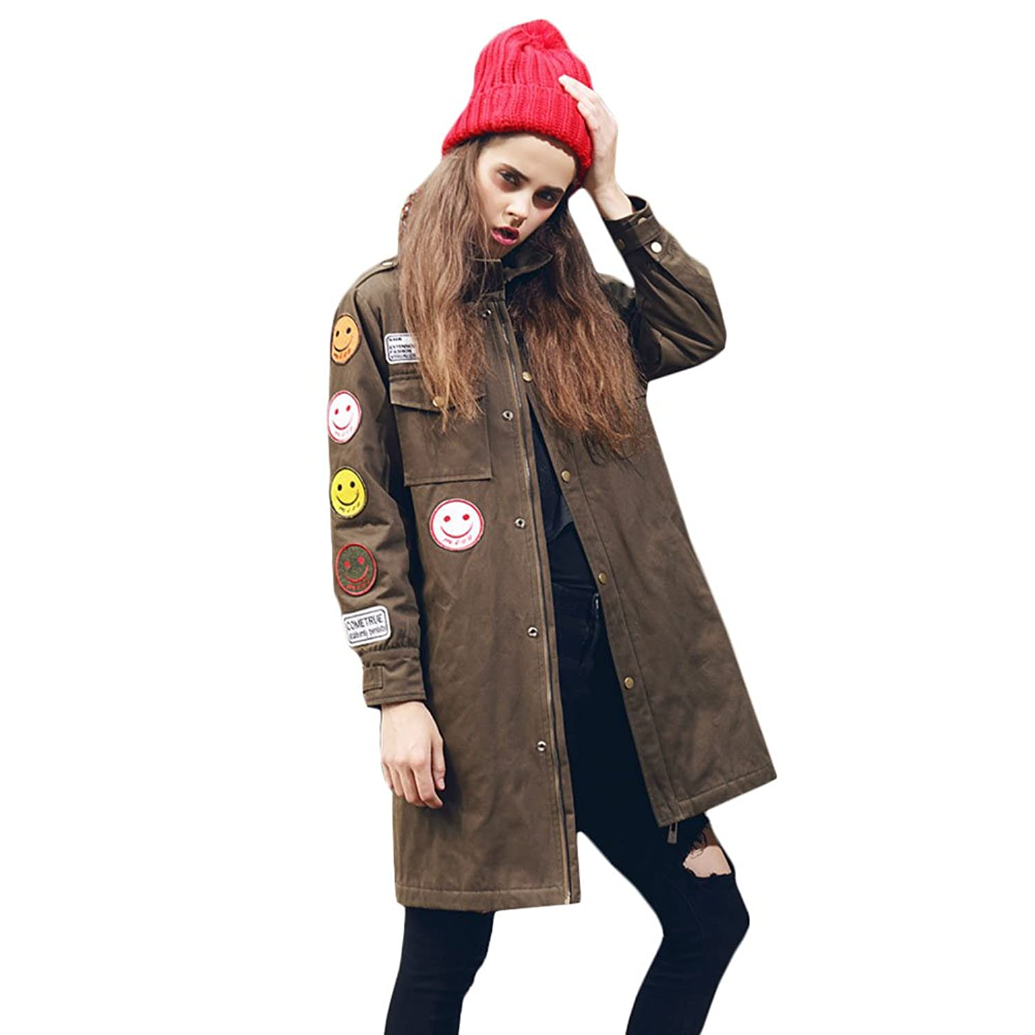 KE Womens Retro Winter verdicken Cotton-padded Badge Trenchcoat Lächeln Puppe Military Mantel