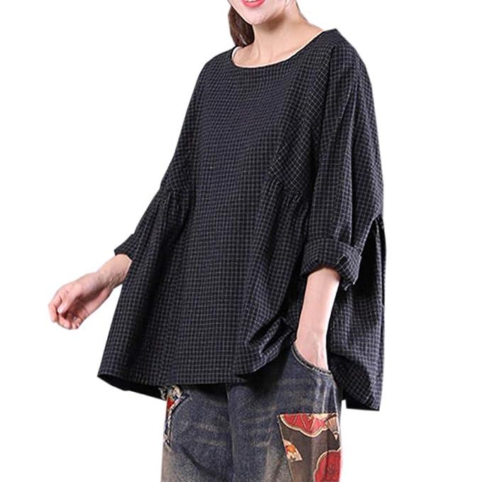 Blusa de Otoño para Mujer Cuello Redondo Camiseta Plaid Pullover Tops Sueltos Retro ❤ Manadlian: Amazon.es: Ropa y accesorios