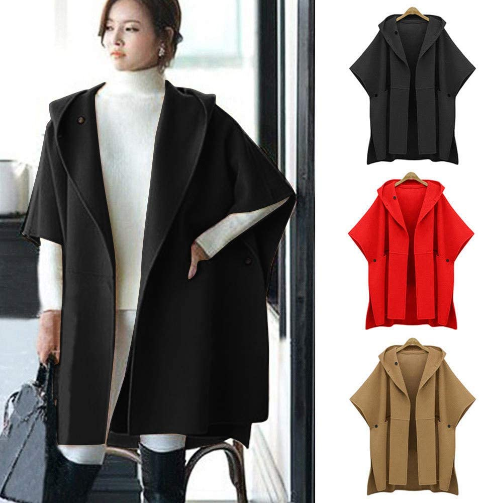 4ee4eede1ab3c Plus Size, Ladies Loose Batwing Wool Poncho Winter Warm Coat Jacket Cloak  Cape Parka Outwear
