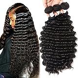Brazilian Human Hair Deep Wave 3 Bundles 100% Unprocessed Virgin Brazilian Deep Curly Hair Weave Bundles Natural Color Total 300g (10 12 14inch)
