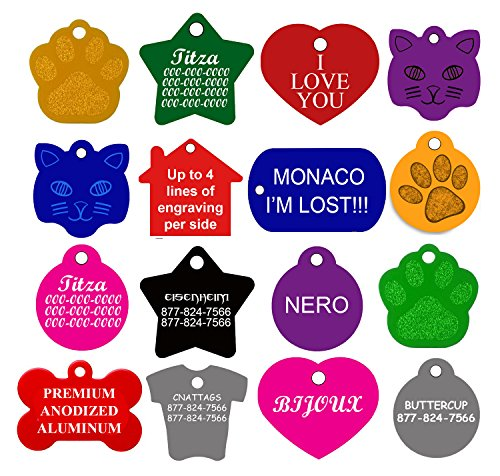 CNATTAGS Dog ID Tags Personalized | Many Shapes to Choose From| 8 Colors]()