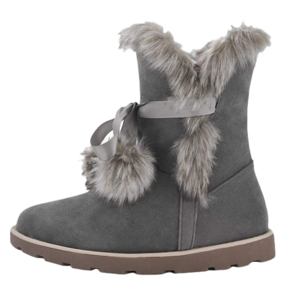 Winter Womens Flat Cotton Shoes Round-Toe Non-Slip Keep Warm Faux Fur Plush Middle Tube Snow Boots Size 5.5-9.5 Aritone women boots